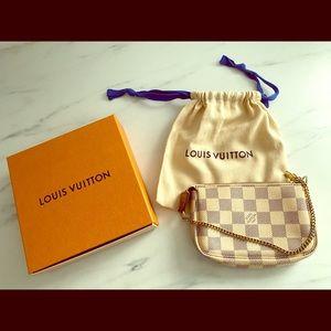 Authentic Louis Vuitton Mini Pochette Damier Azur